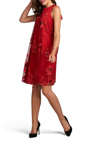 Eci Embroidered Shift Dress, Red