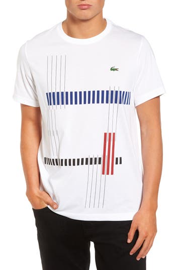 Lacoste Tech Vertical Stripe Graphic T-Shirt, (m) - White