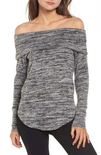 Socialite Off The Shoulder Sweatshirt, Grey
