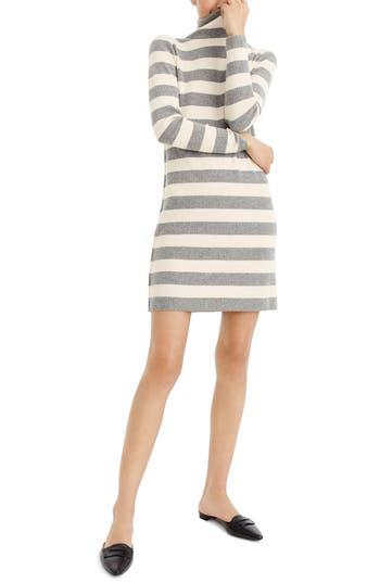 Petite J.crew Stripe Turtleneck Sweater Dress, Grey