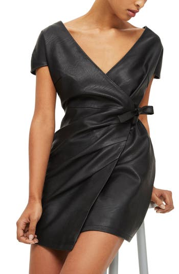 Topshop Faux Leather Wrap Dress, US (fits like 0) - Black