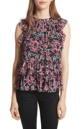 Women's Kate Spade New York Tapestry Silk Chiffon Ruffle Top, Size X-Small - Black