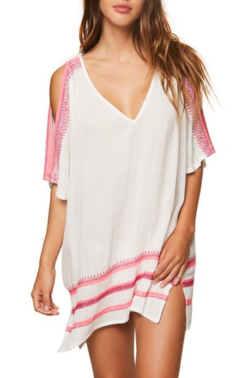 Women's O'Neill Aurora Cold Shoulder Cover-Up Tunic, Size X-Small - White