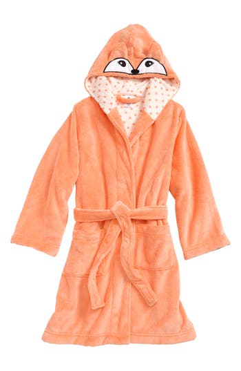 Girl's Tucker + Tate Fox Plush Robe, Size XXS (4) - Coral