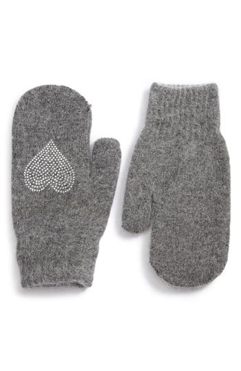David & Young Sequin Heart Mittens, Size One Size - Grey