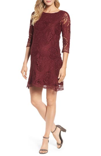 Lilac Clothing Lace Maternity Dress, Burgundy