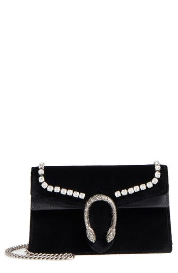 Gucci Gg Super Mini Marmont 2.0 Velvet Clutch - Black
