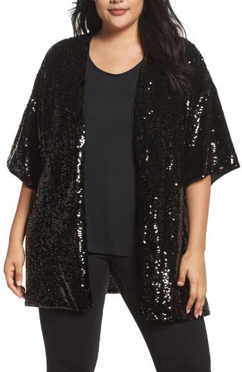 Plus Size Women's Soprano Sequin Cardigan, Size 1X/2X - Black