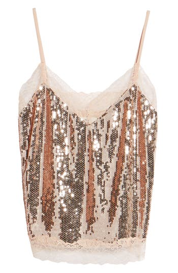 Women's Soprano Lace Trim Sequin Camisole Top, Size X-Small - Metallic
