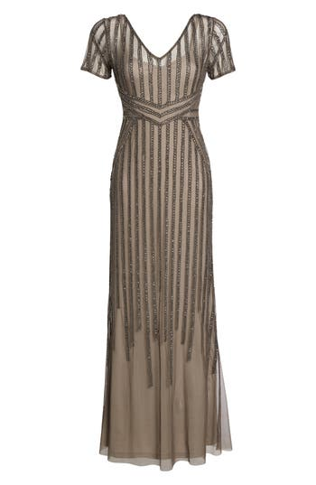 Adrianna Papell Beaded Mesh Gown, Grey