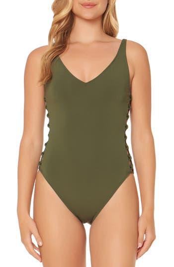 Bleu By Rod Beattie Lattice One-Piece Swimsuit, Green