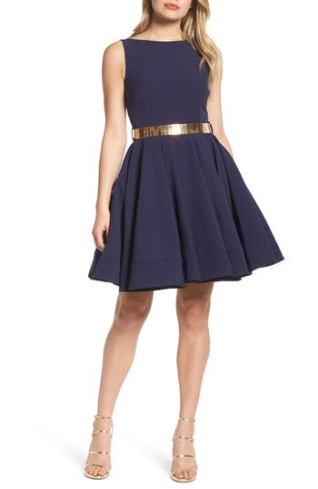 Ieena For MAC Duggal Belted Fit & Flare Dress, Blue