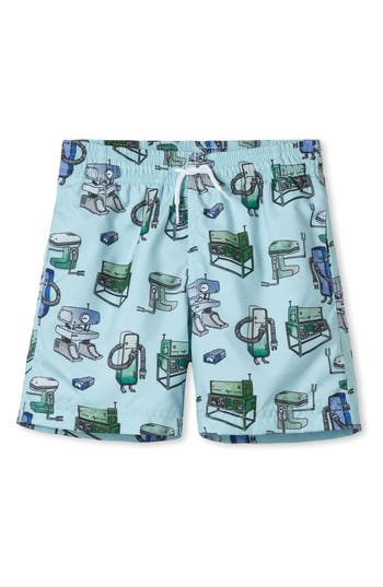 Boys Stella Cove Large Robot Swim Trunks Size 8Y  Green