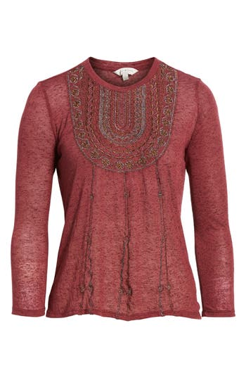 Women's Lucky Brand Embroidered Bib Top, Size X-Small - Burgundy