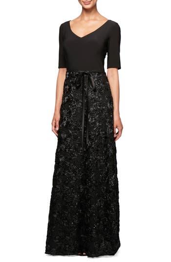 Alex Evenings Embellished Rosette A-Line Gown, Black