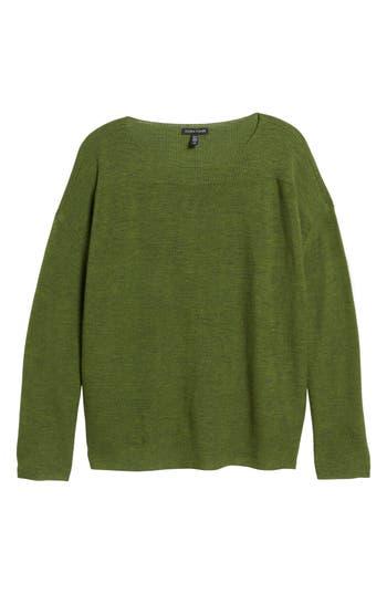 Eileen Fisher Mix Stitch Merino Bateau Neck Sweater, Green