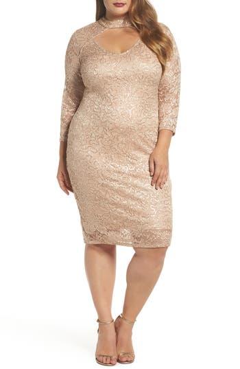 Plus Size Marina Choker Neck Lace Sheath Dress, Pink