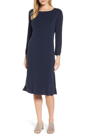 Eileen Fisher Bateau Neck Knit Dress, Blue