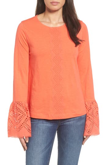Women's Caslon Eyelet Bell Sleeve Top, Size X-Large - Coral