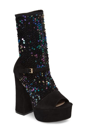 Shellys London Haimi Sequin Sock Bootie Black