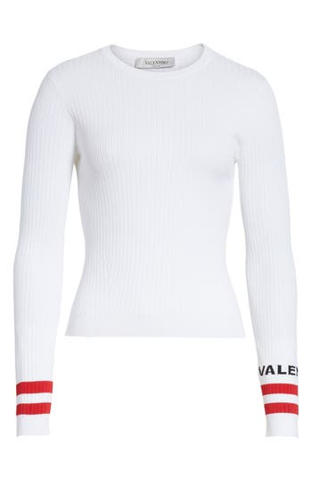 Women's Valentino Logo Sleeve Knit Top, Size X-Small - White