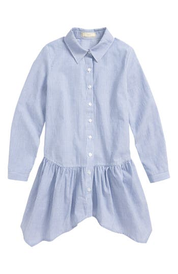 Girl's Soprano Stripe Peplum Shirt, Size S (8-10) - Blue