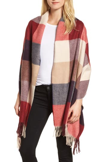 Women's Nordstrom Buffalo Check Cashmere Wrap, Size One Size - Red