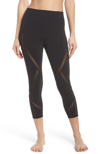 Alo Laced High Waist Capri Leggings, Black