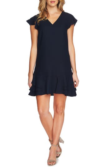 Women's Cece Layla Ruffle Shift Dress, Size 8 - Blue