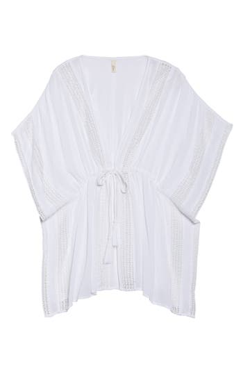 Plus Size Elan Crochet Cover-Up Tunic, White