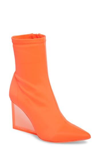 Jeffrey Campbell Siren Clear Wedge Sock Bootie- Orange