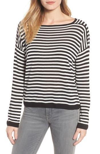 Women's Eileen Fisher Stripe Tencel Knit Sweater, Size XX-Small - White