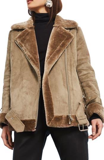 Women's Topshop Faux Shearling Biker Jacket, Size 2 US (fits like 0) - Grey