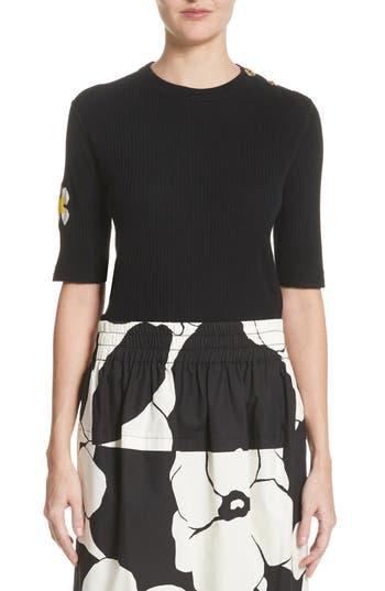 Marc Jacobs Flower Sleeve Merino Wool Sweater, Black