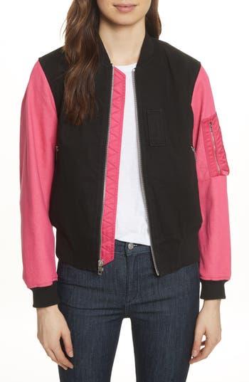 Women's Rag & Bone/jean Dani Denim Bomber Jacket, Size X-Small - Black