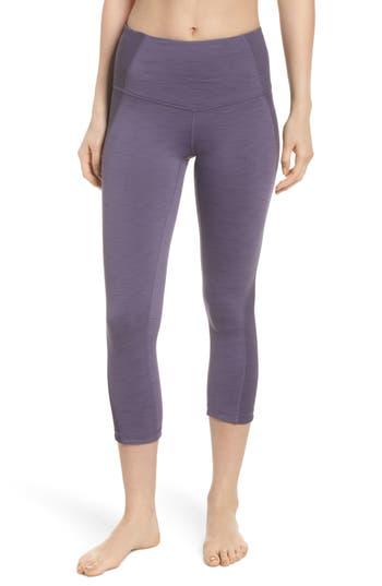 Zella Sporty Splice High Waist Crop Leggings, Purple