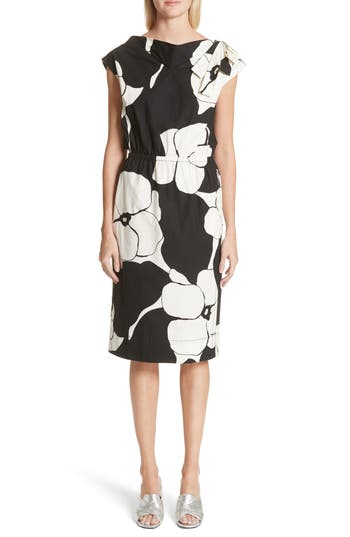 Marc Jacobs Floral Print Shoulder Bow Dress, Black