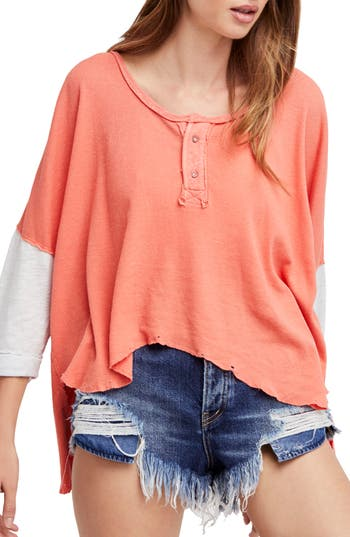 Women's Free People Star Henley Top, Size XX-Small - Coral