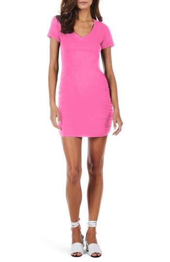 Women's Michael Stars Ruched V-Neck Jersey Minidress, Size Medium - Pink