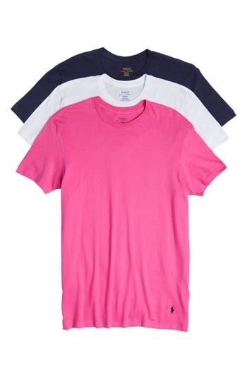 Men's Polo Ralph Lauren 3-Pack Classic Fit Crewneck T-Shirt, Size Small - Pink