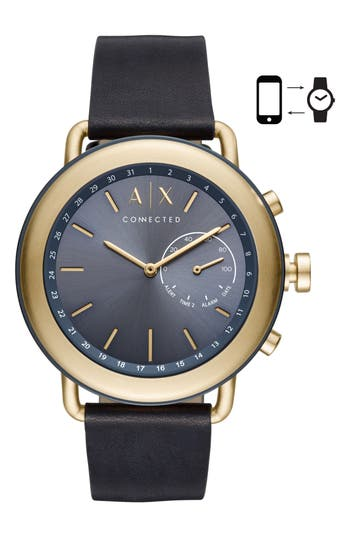 AX Armani Exchange Connected Hybrid Leather Strap Smartwatch, 47mm