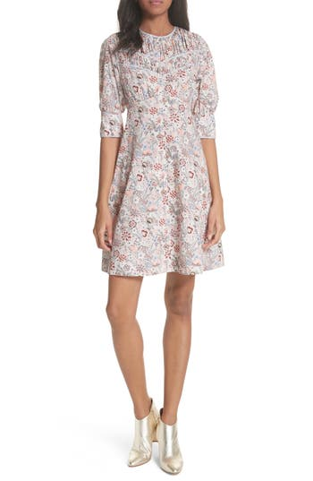 La Vie Rebecca Taylor Lotus Floral Cotton Dress, White