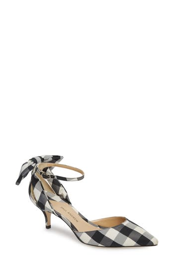 Paul Andrew Anya Bow Ankle Strap Pump, Black