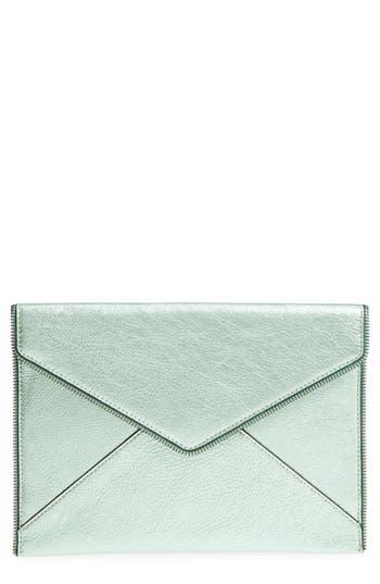 Rebecca Minkoff Leo Metallic Leather Clutch - Green