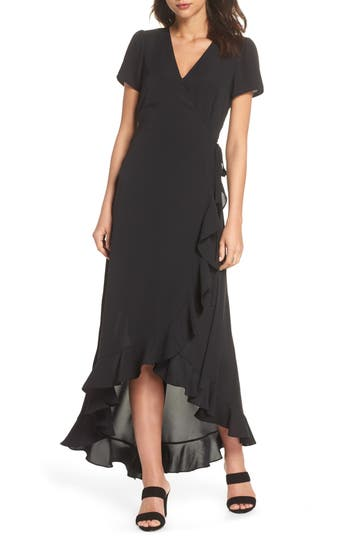 Women's Felicity & Coco Madge Ruffle Wrap Maxi Dress, Size X-Small - Black