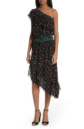 Joie Hafsa One-Shoulder Print Silk Dress, Black