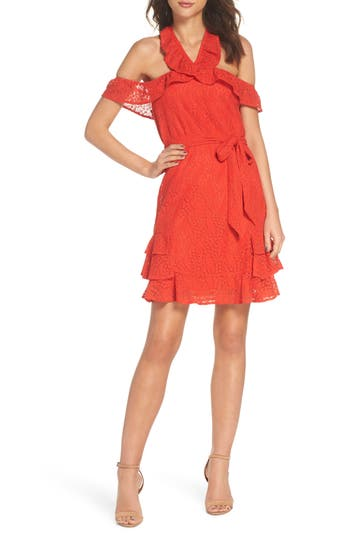 19 cooper female womens 19 cooper cold shoulder lace halter neck dress size xsmall coral