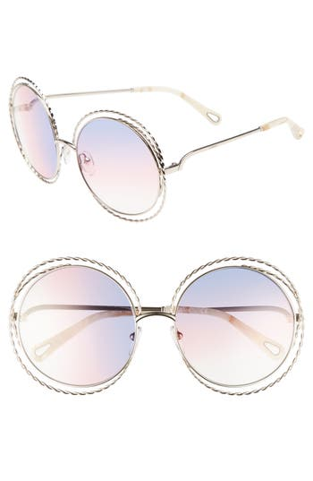 Chloe Carlina Torsade 5m Round Sunglasses - Gold/ Rainbow