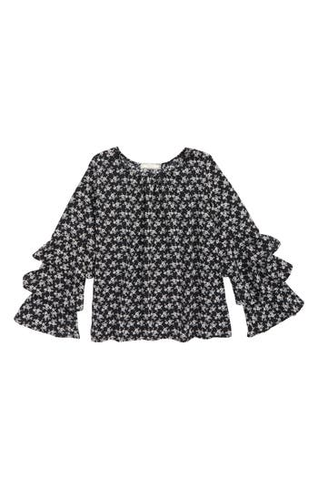 Girl's Soprano Pretty Woven Top, Size S (8-10) - Black