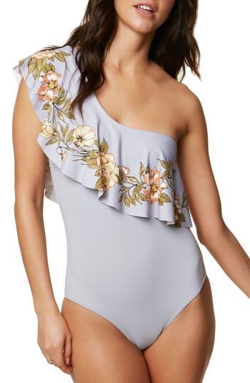 Women's O'Neill Aloha Floral Ruffle One-Piece Swimsuit, Size X-Small - Grey